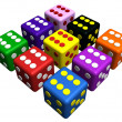 Playing dices in many colors — Stock Photo