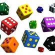 Playing dices in many colors — Stock Photo #7434101