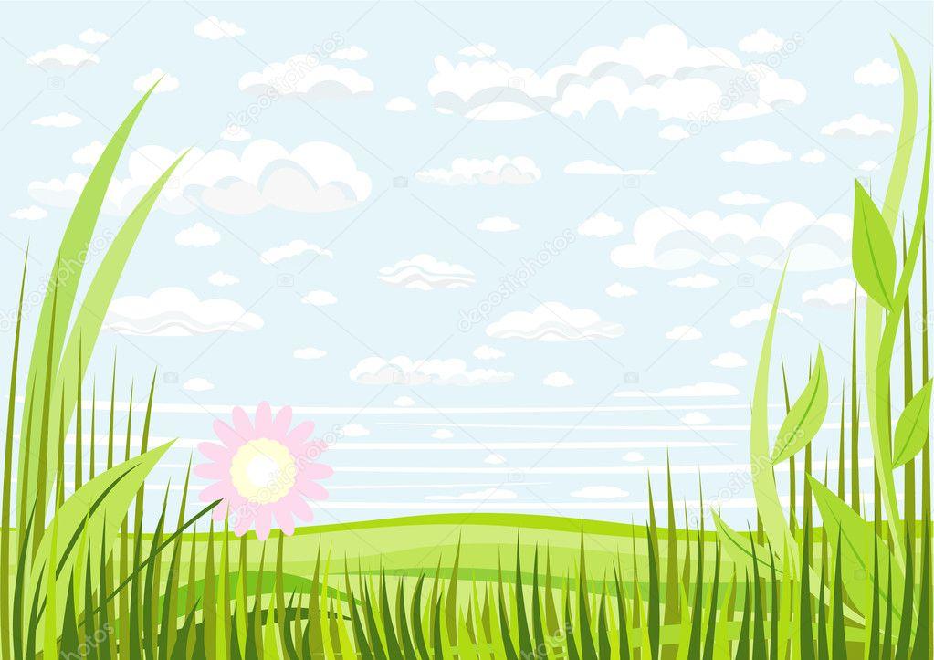 草的天空和云彩背景的插图