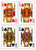 Set of queens playing cards 62x90 mm — Stock Photo