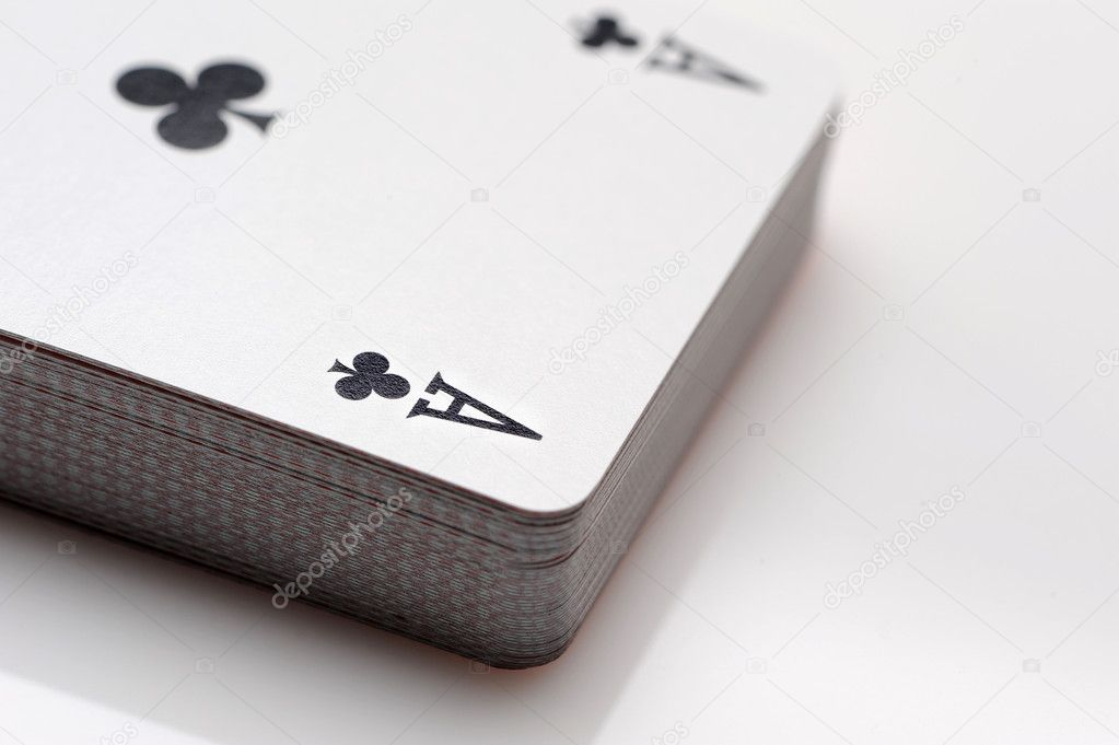 Close up of playing cards poker game on white background  Stock Photo #7716940