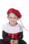 Boy dressed up as Black Peter from Dutch Sinterklaas — Stock Photo