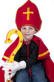 Boy dressed up as Dutch Santa Claus Sinterklaas — Stock Photo