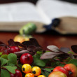 Autumn arrangement and the Bible — Stock Photo