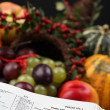 Thanksgiving Scripture and cornucopia — Stock Photo