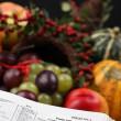 Thanksgiving Scripture and cornucopia — Stock Photo #7413398