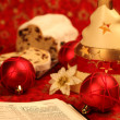 Bible and Christmas stollen — Stock Photo