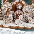 Bible and Gingerbread Nativity scene — Stock Photo