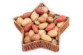 Christmas basket with nuts — Stock Photo