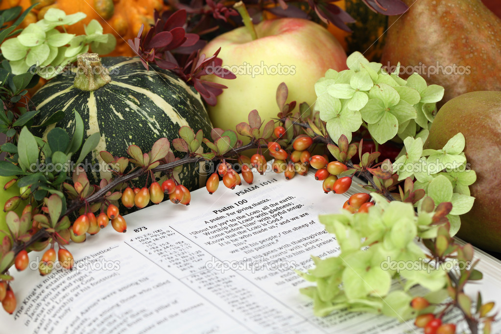 Thanksgiving arrangement with the Bible open at Psalm 100 — Stock Photo #7413359