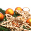 Stock Photo: Arrangement with orange Christmas ornaments and gold stars