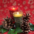 Christmas arrangement with candles and cones — Lizenzfreies Foto
