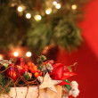 Christmas still life with red berries — Stock Photo