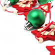 Stock Photo: Green and red Christmas decorations