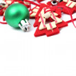 Green and red Christmas decorations — Stock Photo