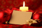 Blank card on Christmas background — Stok fotoğraf