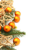 Christmas border with orange ornaments and gold stars — Stock Photo