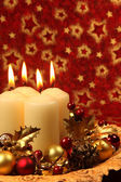 Christmas decoration with candles — 图库照片