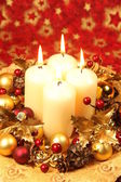 Christmas decoration with candles — Stock fotografie