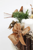 Christmas decoration with white candles — Foto de Stock