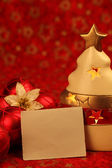 Christmas still life with blank card — Stok fotoğraf