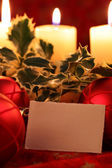 Christmas still life with blank card — Photo