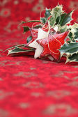 Stars and holly twigs on Christmas background — Stock Photo