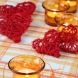 Candles and hearts — Stock Photo