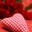 Chequered fabric heart and roses — Stock Photo
