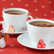 Coffee with hearts and angel — Stock Photo