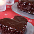 Heart shaped chocolate cake — 图库照片 #7437009