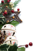 Jingle bell and star Christmas border — Stock Photo