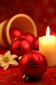 Red ornament Christmas still life — Stockfoto