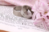 Bible and wedding rings — Stock Photo