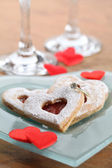 Gold engagement ring with shortbread hearts — Foto de Stock