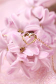 Gold necklace with heart on hyacinth — Stock Photo