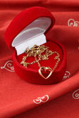 Golden necklace with heart — Foto de Stock