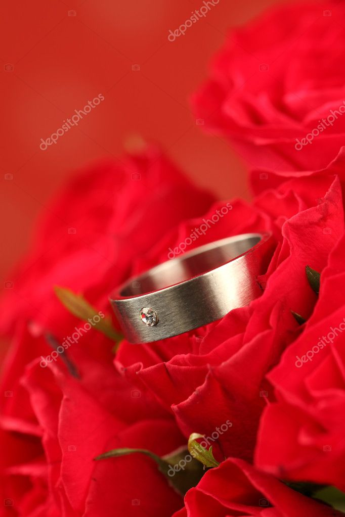 Titanium engagement ring with diamond in red rose. Shallow dof — Stock Photo #7437416