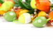 Green Easter eggs and tulips border — Stock Photo
