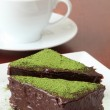 Chocolate cake with green tea powder — Stock Photo #7445749