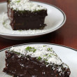 Chocolate cake with coconut and green tea powder — Stock Photo #7445753