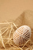 Paskalya yumurtası beyaz crochet dekorasyon ile — Stok fotoğraf