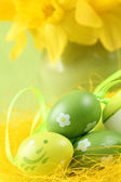 Green Easter eggs and daffodils — Stock Photo