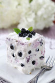 Blueberry cake with sour cream — Stock Photo