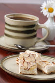 Czech nougat and coffee — Stock Photo
