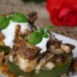 Baked peppers with mushrooms and cheese — Stock Photo #7459644