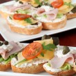 Cheese and ham appetizers — Stock Photo #7460686