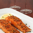 Smoked salmon with pepper crust — Stock Photo #7461548