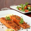 Smoked salmon with pepper crust — Stock Photo