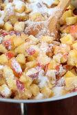Chopped nectarines with sugar - making jam — Stock Photo